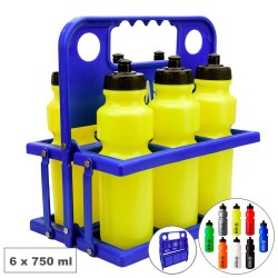 Pack 6 Botellas 750 ml con Portabotellas Plegable Azul