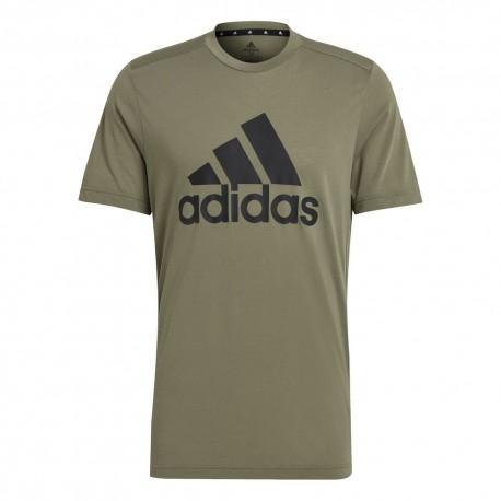 Camiseta Adidas D2M Feelready Logo Khaki