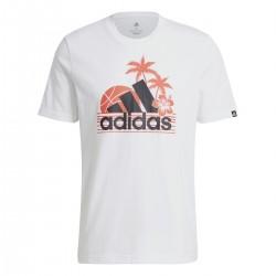 Camiseta Adidas Aeroready Vacation White de cuello redondo