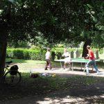 familia jugando al ping pong en el parque